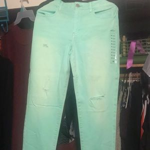 Never worn, Distressed, faded Turquoise jeggings